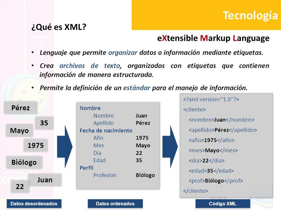 Tecnología ¿Qué es XML? eXtensible Markup Language Lenguaje que permite organizar datos o información mediante etiquetas. Crea archivos de texto, orga