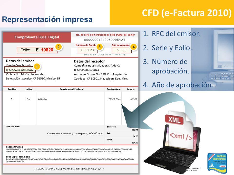 CFD (e-Factura 2010) Representación impresa 1.RFC del emisor. 2.Serie y Folio. 3.Número de aprobación. 4.Año de aprobación. 2 2 3 3 4 4 1 1 Este docum