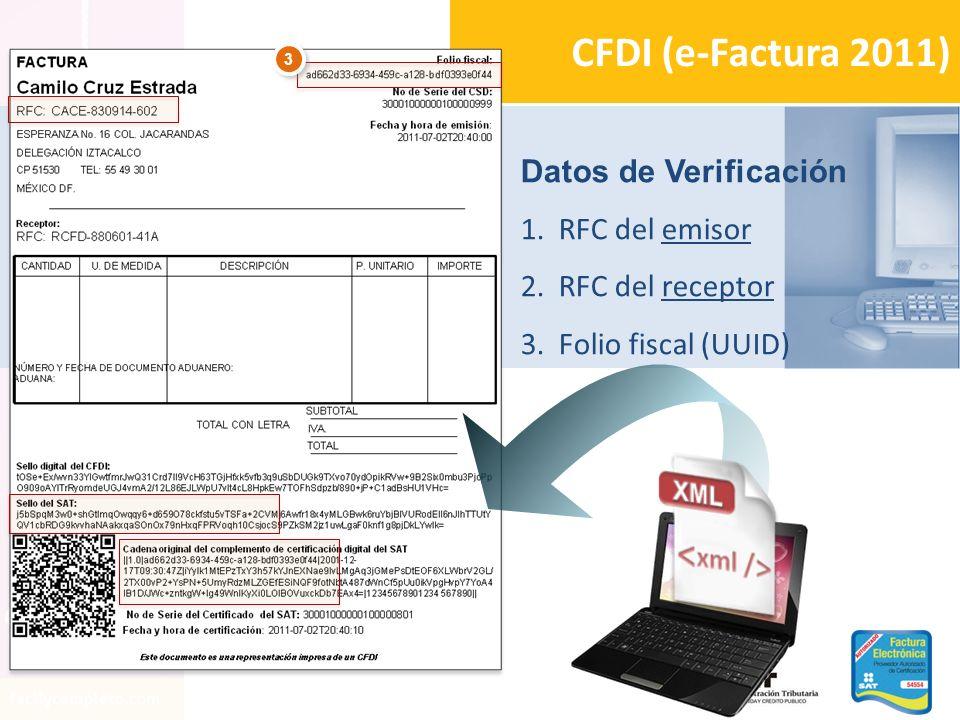 2 2 1 1 Datos de Verificación 1.RFC del emisor 2.RFC del receptor 3.Folio fiscal (UUID) CFDI (e-Factura 2011) 3 3