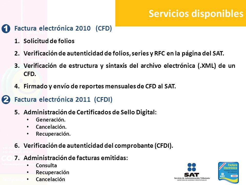 1 Factura electrónica 2010 (CFD) 1.Solicitud de folios 2.Verificación de autenticidad de folios, series y RFC en la página del SAT. 3.Verificación de