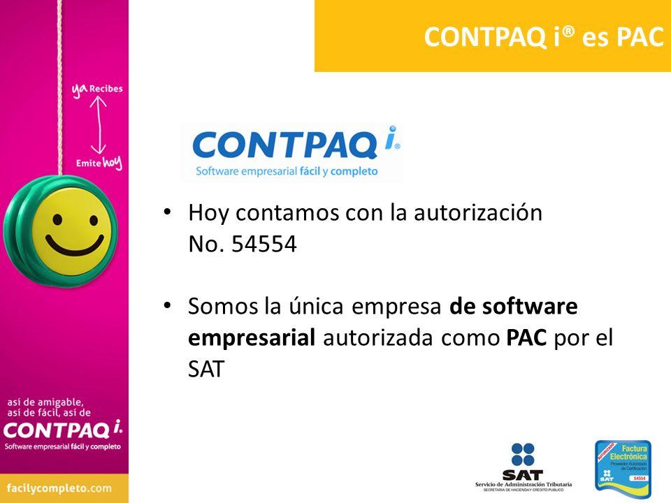 Hoy contamos con la autorización No. 54554 Somos la única empresa de software empresarial autorizada como PAC por el SAT