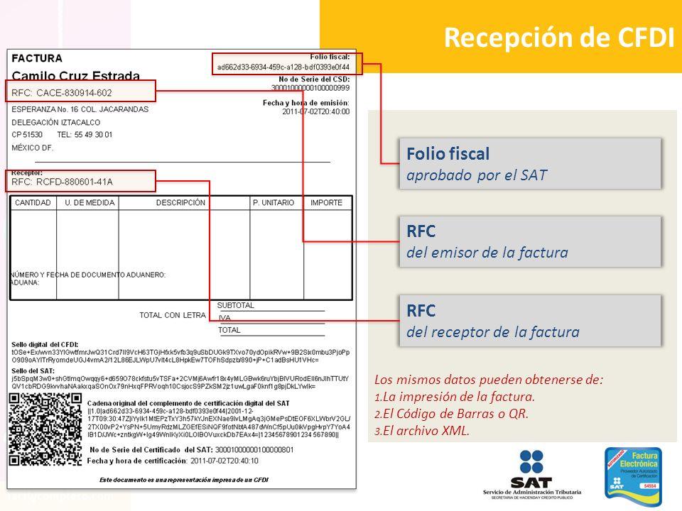 Los mismos datos pueden obtenerse de: 1. La impresión de la factura. 2. El Código de Barras o QR. 3. El archivo XML. Recepción de CFDI Folio fiscal ap