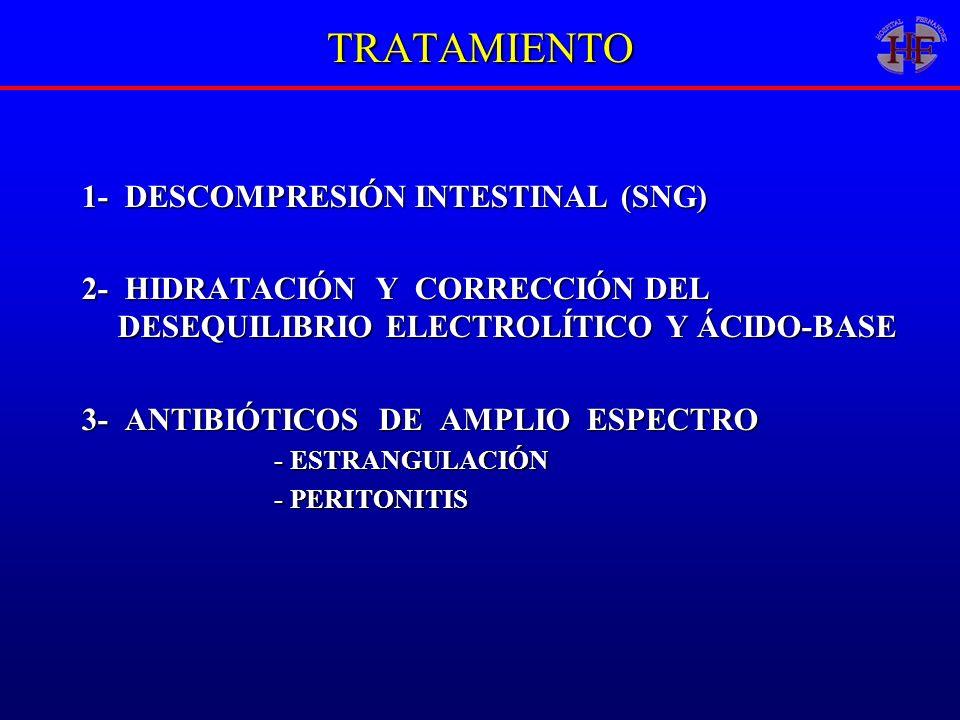TRATAMIENTO 1- DESCOMPRESIÓN INTESTINAL (SNG) 2- HIDRATACIÓN Y CORRECCIÓN DEL DESEQUILIBRIO ELECTROLÍTICO Y ÁCIDO-BASE 3- ANTIBIÓTICOS DE AMPLIO ESPEC