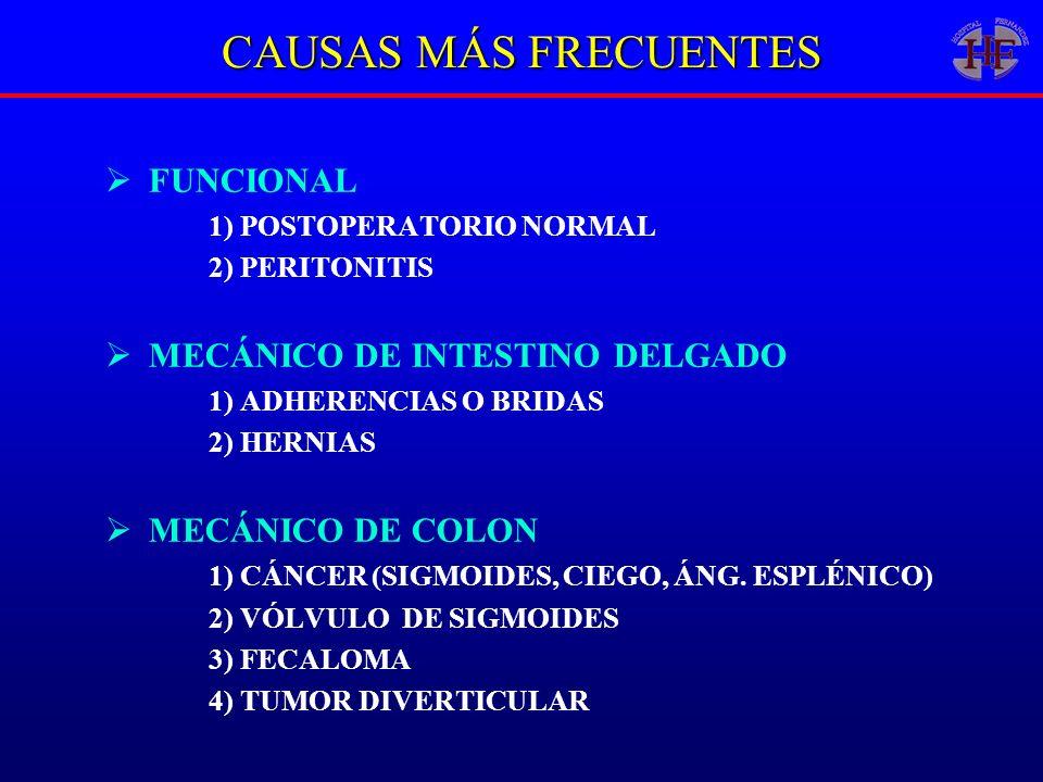 CAUSAS MÁS FRECUENTES FUNCIONAL 1) POSTOPERATORIO NORMAL 2) PERITONITIS MECÁNICO DE INTESTINO DELGADO 1) ADHERENCIAS O BRIDAS 2) HERNIAS MECÁNICO DE C