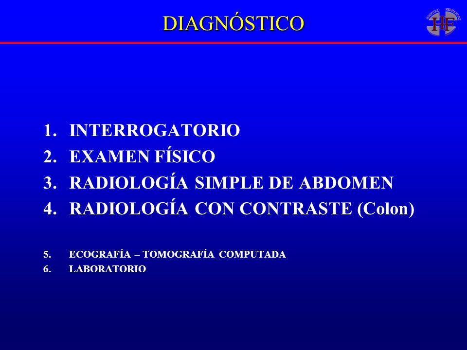 DIAGNÓSTICO 1.INTERROGATORIO 2.EXAMEN FÍSICO 3.RADIOLOGÍA SIMPLE DE ABDOMEN 4.RADIOLOGÍA CON CONTRASTE (Colon) 5.ECOGRAFÍA – TOMOGRAFÍA COMPUTADA 6.LA
