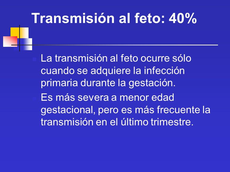 Transmisión al feto: 40% La transmisión al feto ocurre sólo cuando se adquiere la infección primaria durante la gestación. Es más severa a menor edad