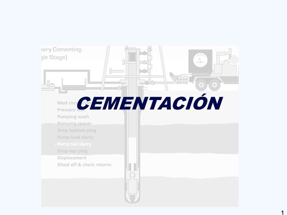 2 CURSO DE PERFORACIÓN CEMENTACION 1.- INTRODUCCIÓN Descripción general del proceso de cementación: Consiste en mezclar una lechada de cemento con agua, por medio de equipos especiales de mezclado, y bombearla a través del casing.