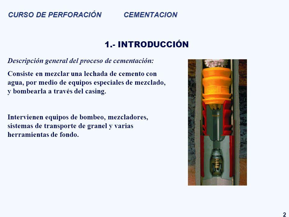 2 CURSO DE PERFORACIÓN CEMENTACION 1.- INTRODUCCIÓN Descripción general del proceso de cementación: Consiste en mezclar una lechada de cemento con agu