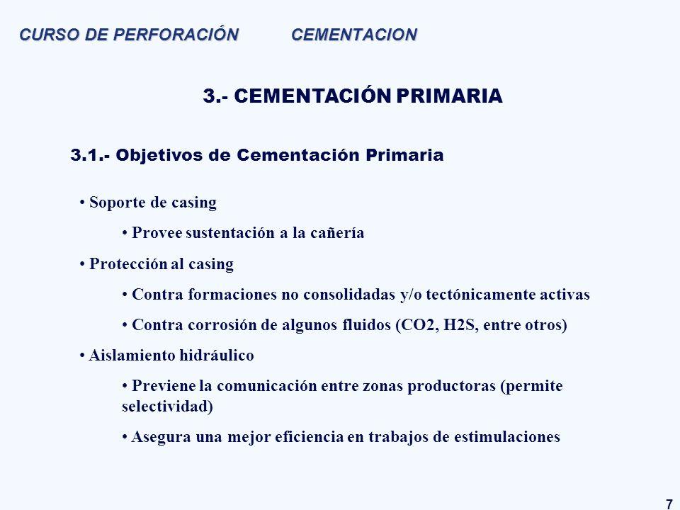 7 CURSO DE PERFORACIÓN CEMENTACION 3.- CEMENTACIÓN PRIMARIA Soporte de casing Provee sustentación a la cañería Protección al casing Contra formaciones