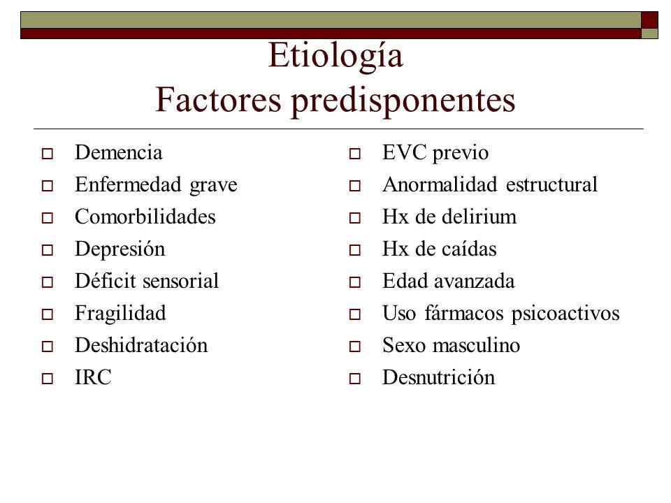 Etiología Factores predisponentes Demencia Enfermedad grave Comorbilidades Depresión Déficit sensorial Fragilidad Deshidratación IRC EVC previo Anorma