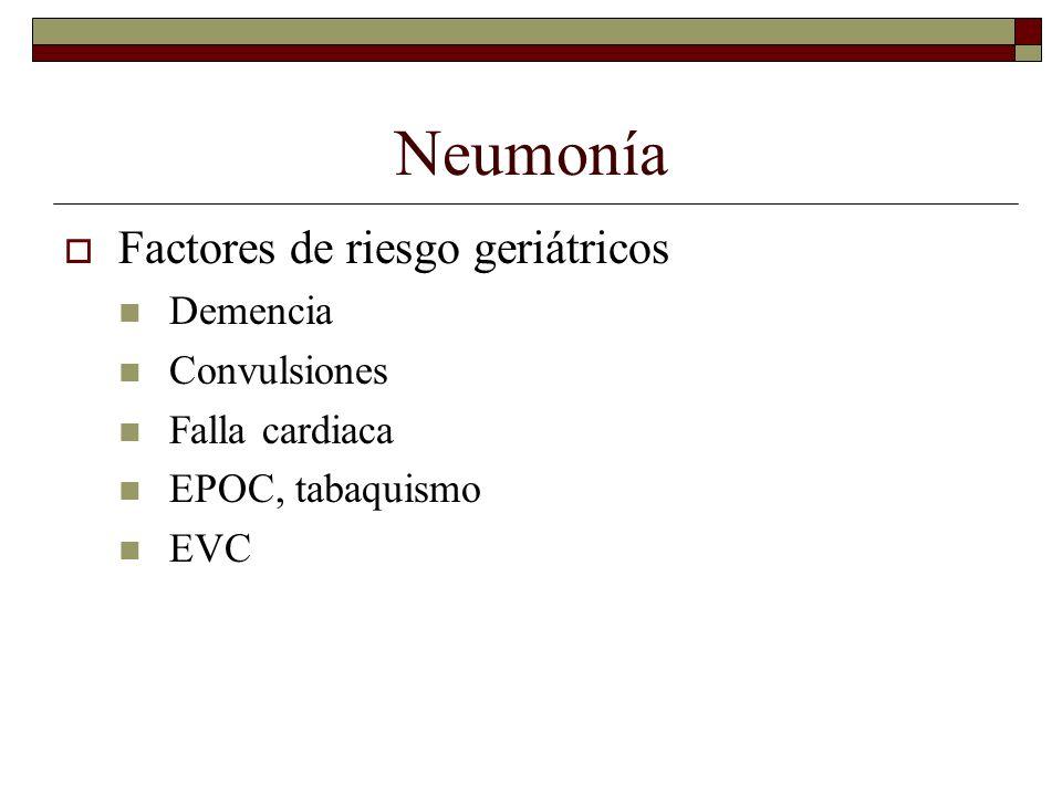 Neumonía Factores de riesgo geriátricos Demencia Convulsiones Falla cardiaca EPOC, tabaquismo EVC