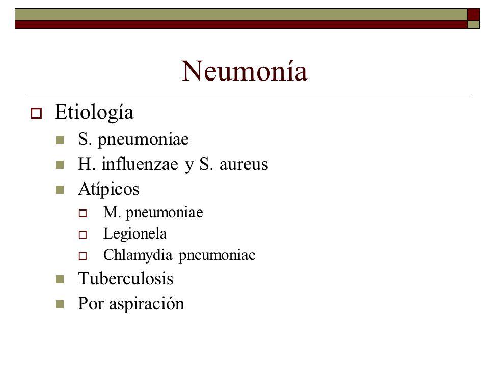 Neumonía Etiología S. pneumoniae H. influenzae y S. aureus Atípicos M. pneumoniae Legionela Chlamydia pneumoniae Tuberculosis Por aspiración