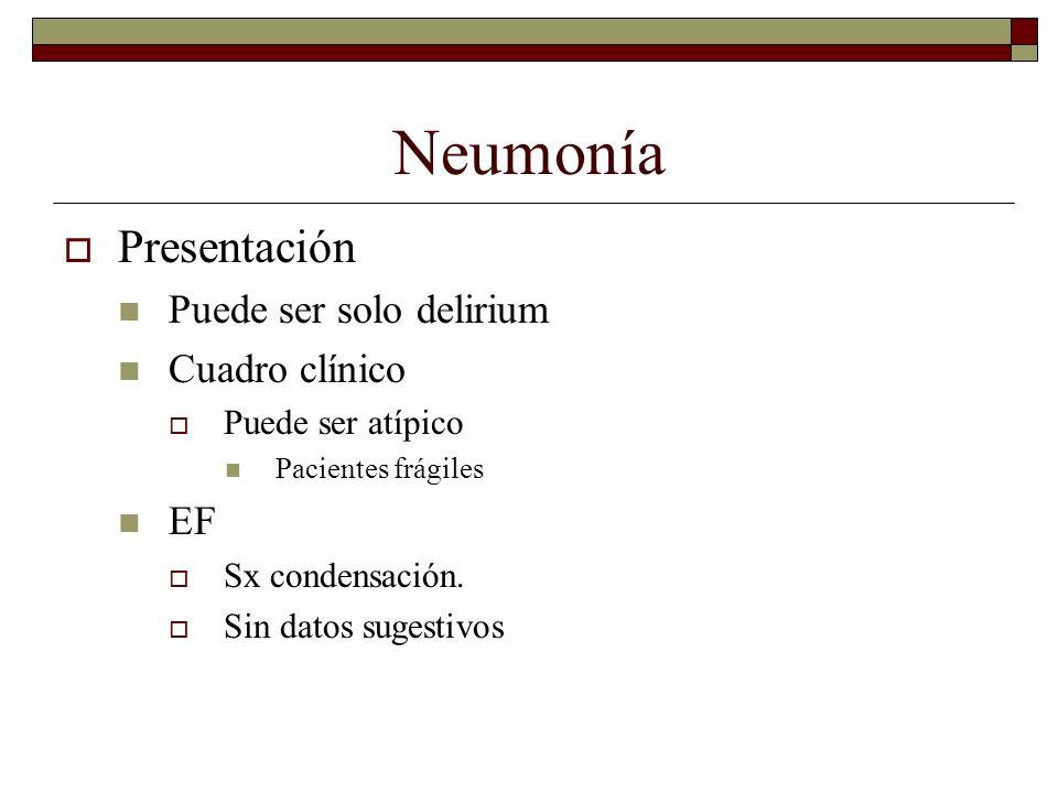 Neumonía Presentación Puede ser solo delirium Cuadro clínico Puede ser atípico Pacientes frágiles EF Sx condensación. Sin datos sugestivos