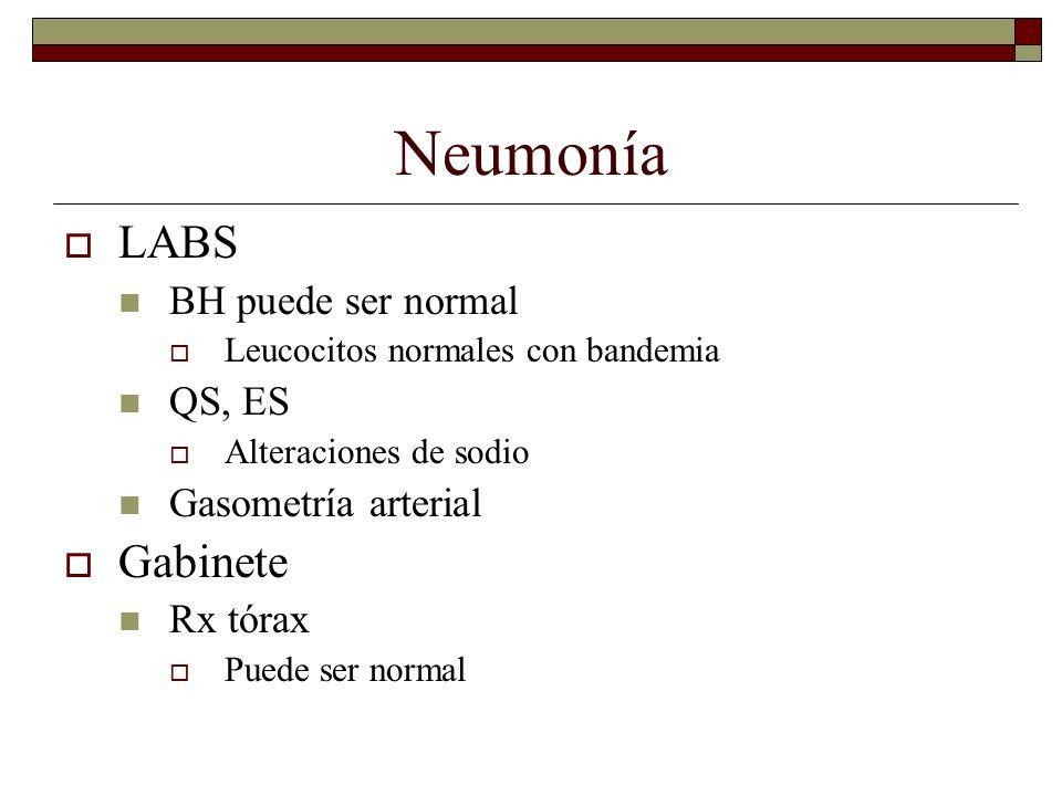 Neumonía LABS BH puede ser normal Leucocitos normales con bandemia QS, ES Alteraciones de sodio Gasometría arterial Gabinete Rx tórax Puede ser normal