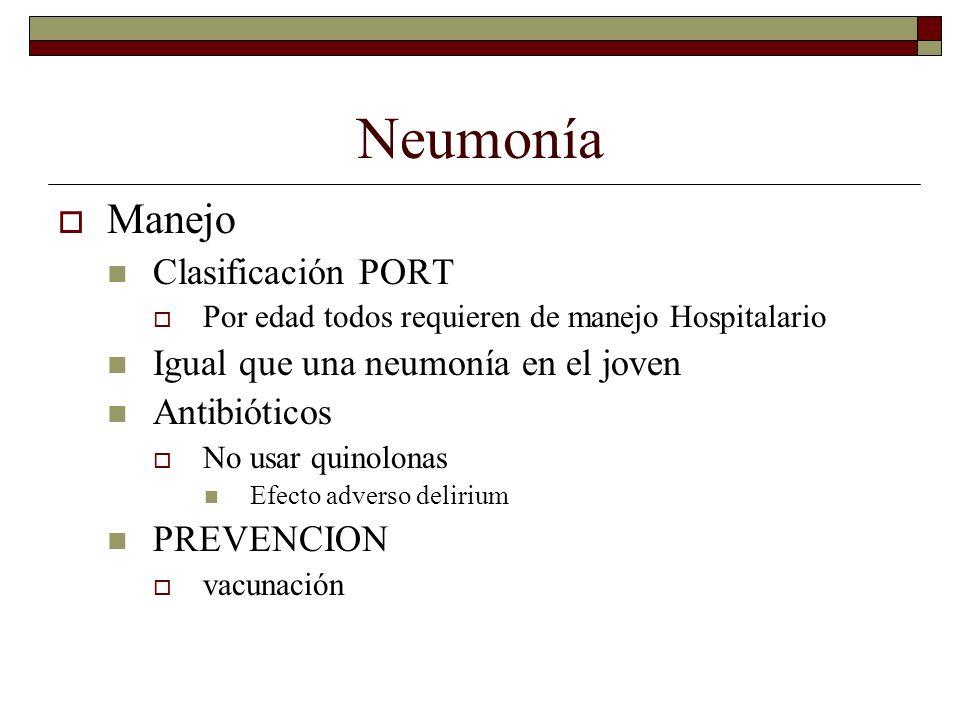 Neumonía Manejo Clasificación PORT Por edad todos requieren de manejo Hospitalario Igual que una neumonía en el joven Antibióticos No usar quinolonas
