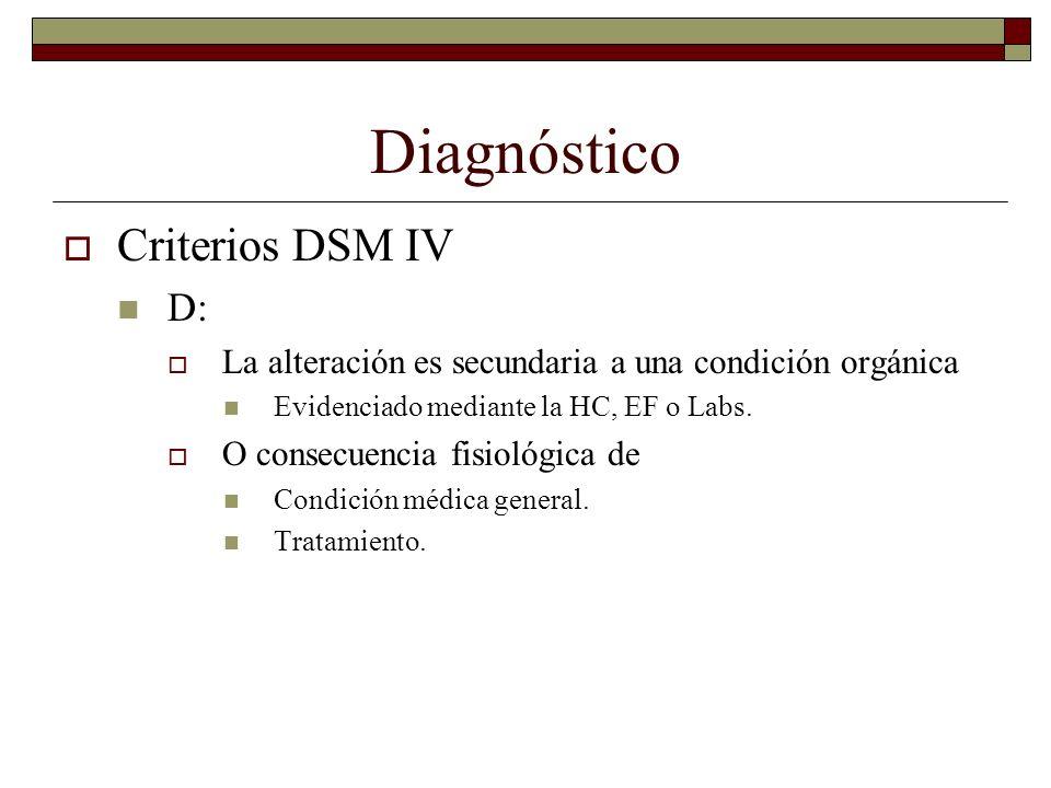 Diagnóstico Criterios DSM IV D: La alteración es secundaria a una condición orgánica Evidenciado mediante la HC, EF o Labs. O consecuencia fisiológica