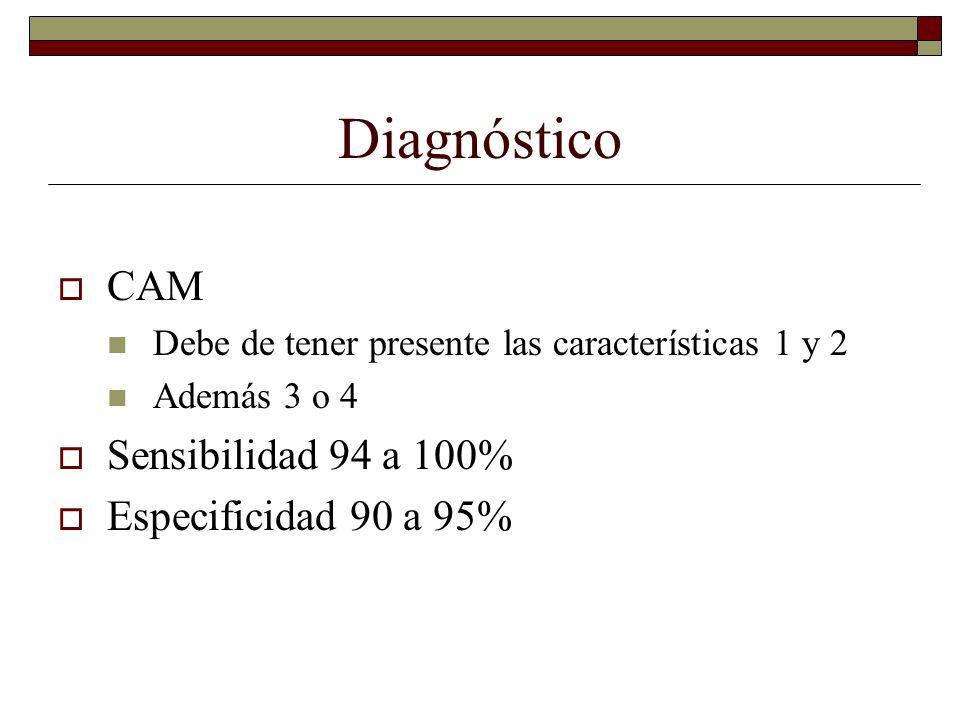 Diagnóstico CAM Debe de tener presente las características 1 y 2 Además 3 o 4 Sensibilidad 94 a 100% Especificidad 90 a 95%