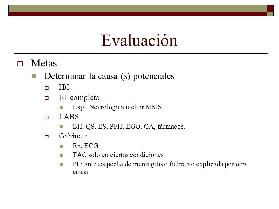 Evaluación Metas Determinar la causa (s) potenciales HC EF completo Expl. Neurológica incluir MMS LABS BH, QS, ES, PFH, EGO, GA, fármacos. Gabinete Rx