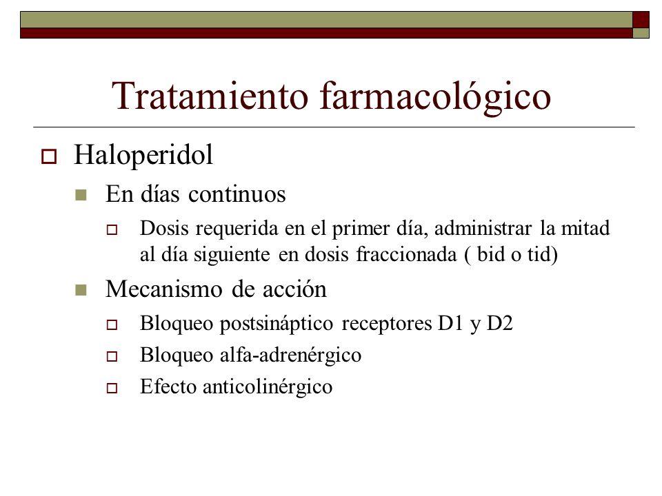 Tratamiento farmacológico Haloperidol En días continuos Dosis requerida en el primer día, administrar la mitad al día siguiente en dosis fraccionada (
