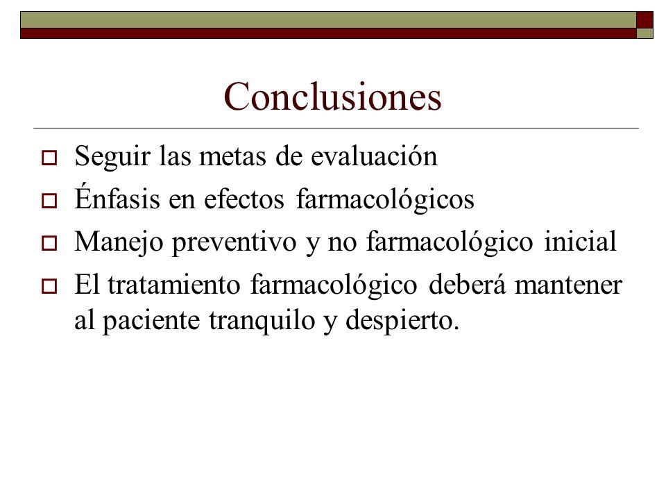 Conclusiones Seguir las metas de evaluación Énfasis en efectos farmacológicos Manejo preventivo y no farmacológico inicial El tratamiento farmacológic