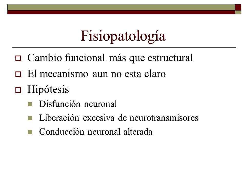 Fisiopatología Cambio funcional más que estructural El mecanismo aun no esta claro Hipótesis Disfunción neuronal Liberación excesiva de neurotransmiso