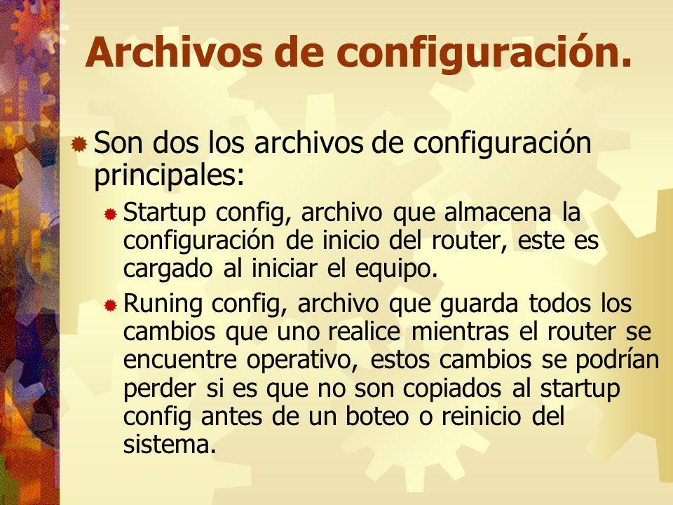Archivos de configuración. Son dos los archivos de configuración principales: Startup config, archivo que almacena la configuración de inicio del rout