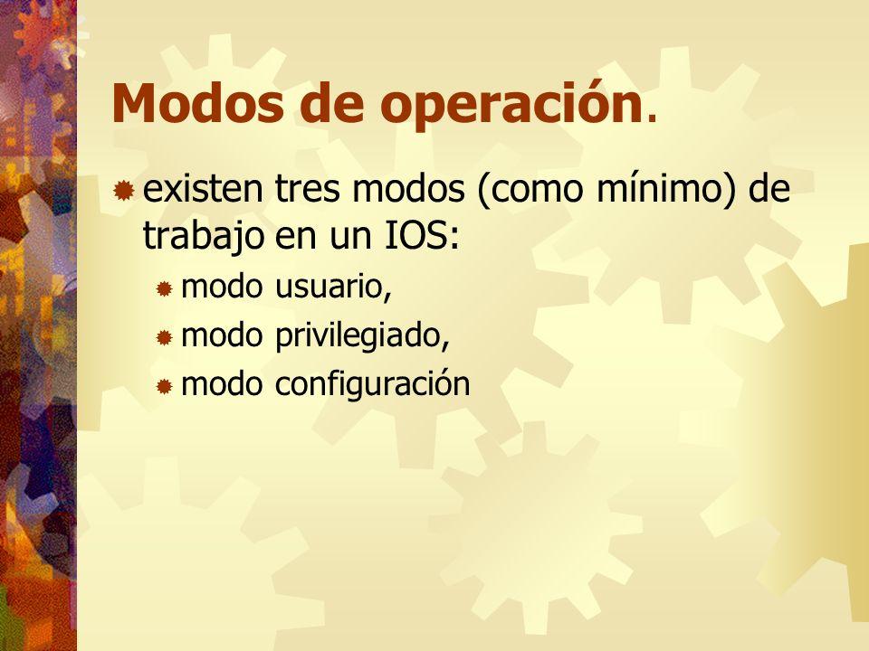 Modos de operación. existen tres modos (como mínimo) de trabajo en un IOS: modo usuario, modo privilegiado, modo configuración