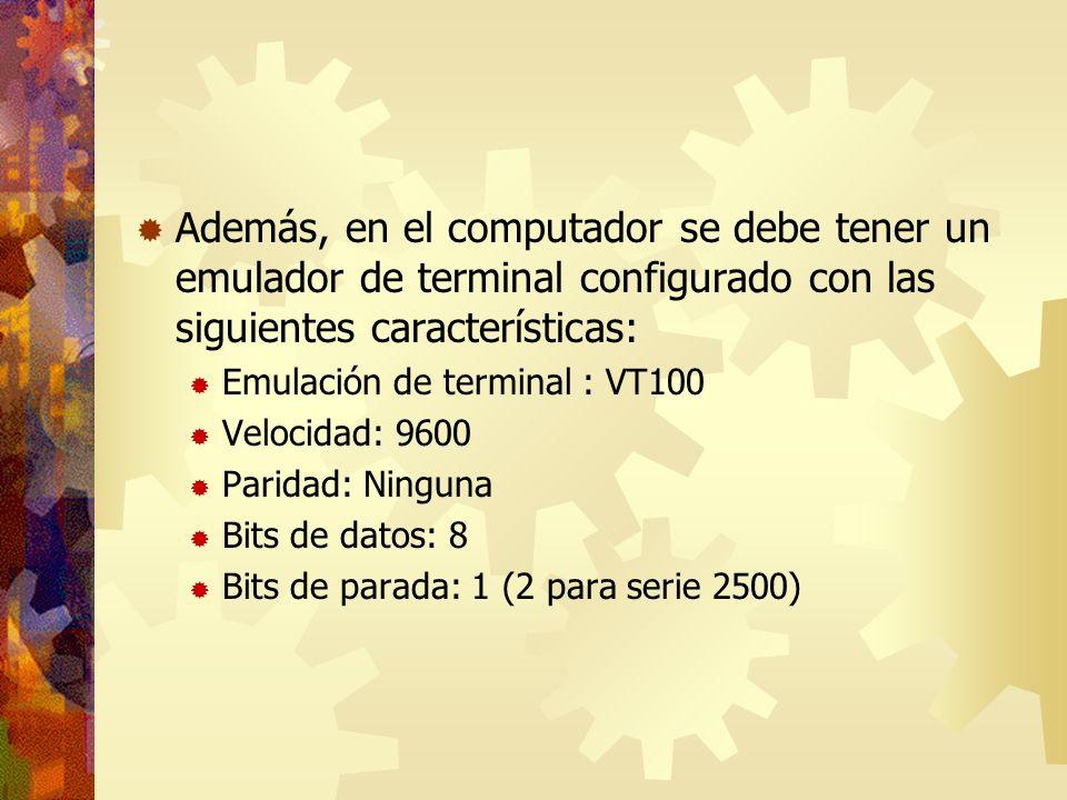 Además, en el computador se debe tener un emulador de terminal configurado con las siguientes características: Emulación de terminal : VT100 Velocidad