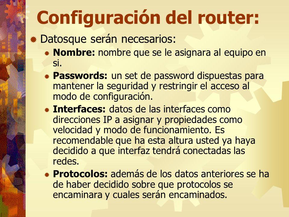 Configuración del router: Datosque serán necesarios: Nombre: nombre que se le asignara al equipo en si. Passwords: un set de password dispuestas para