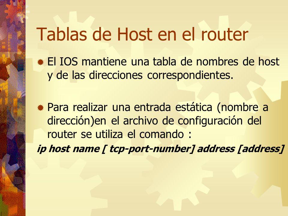 Tablas de Host en el router El IOS mantiene una tabla de nombres de host y de las direcciones correspondientes. Para realizar una entrada estática (no