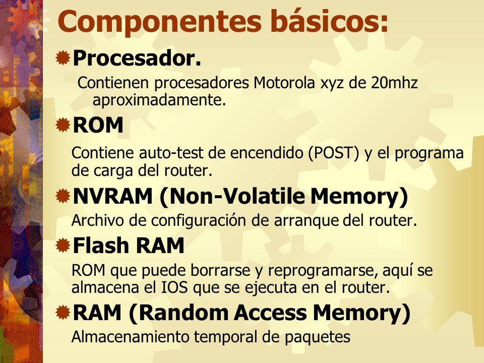 Componentes básicos: Procesador. Contienen procesadores Motorola xyz de 20mhz aproximadamente. ROM Contiene auto-test de encendido (POST) y el program