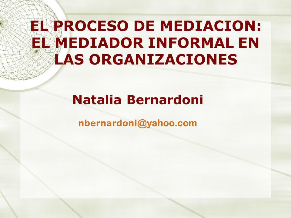 EL PROCESO DE MEDIACION: EL MEDIADOR INFORMAL EN LAS ORGANIZACIONES Natalia Bernardoni nbernardoni @yahoo.com