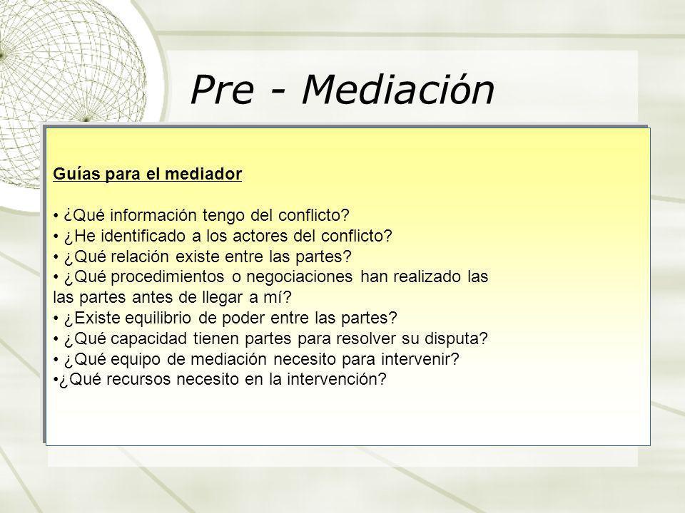 Pre - Mediaci ó n Guías para el mediador ¿ Qué información tengo del conflicto? ¿He identificado a los actores del conflicto? ¿Qué relación existe ent