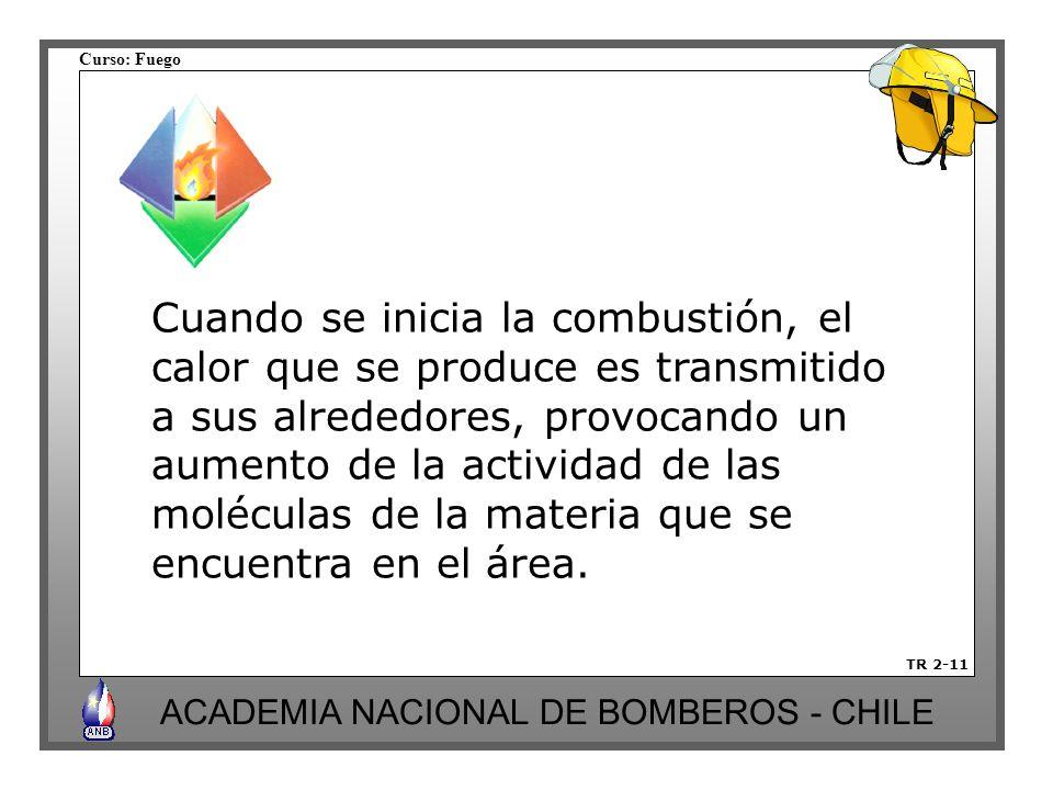 Curso: Fuego ACADEMIA NACIONAL DE BOMBEROS - CHILE TR 2-11 Cuando se inicia la combustión, el calor que se produce es transmitido a sus alrededores, provocando un aumento de la actividad de las moléculas de la materia que se encuentra en el área.