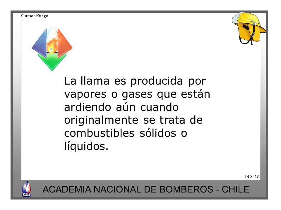 Curso: Fuego ACADEMIA NACIONAL DE BOMBEROS - CHILE TR 2 -12 La llama es producida por vapores o gases que están ardiendo aún cuando originalmente se t