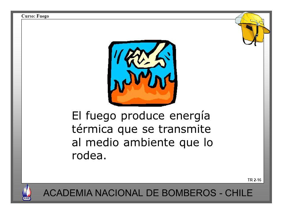 Curso: Fuego ACADEMIA NACIONAL DE BOMBEROS - CHILE TR 2-16 El fuego produce energía térmica que se transmite al medio ambiente que lo rodea.