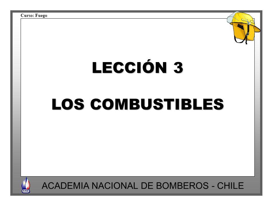 Curso: Fuego ACADEMIA NACIONAL DE BOMBEROS - CHILE LECCIÓN 3 LOS COMBUSTIBLES