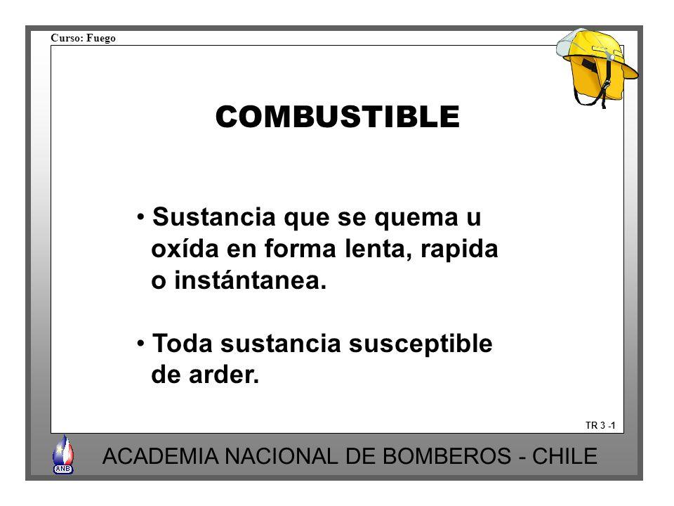 Curso: Fuego ACADEMIA NACIONAL DE BOMBEROS - CHILE TR 3 -1 COMBUSTIBLE Sustancia que se quema u oxída en forma lenta, rapida o instántanea. Toda susta
