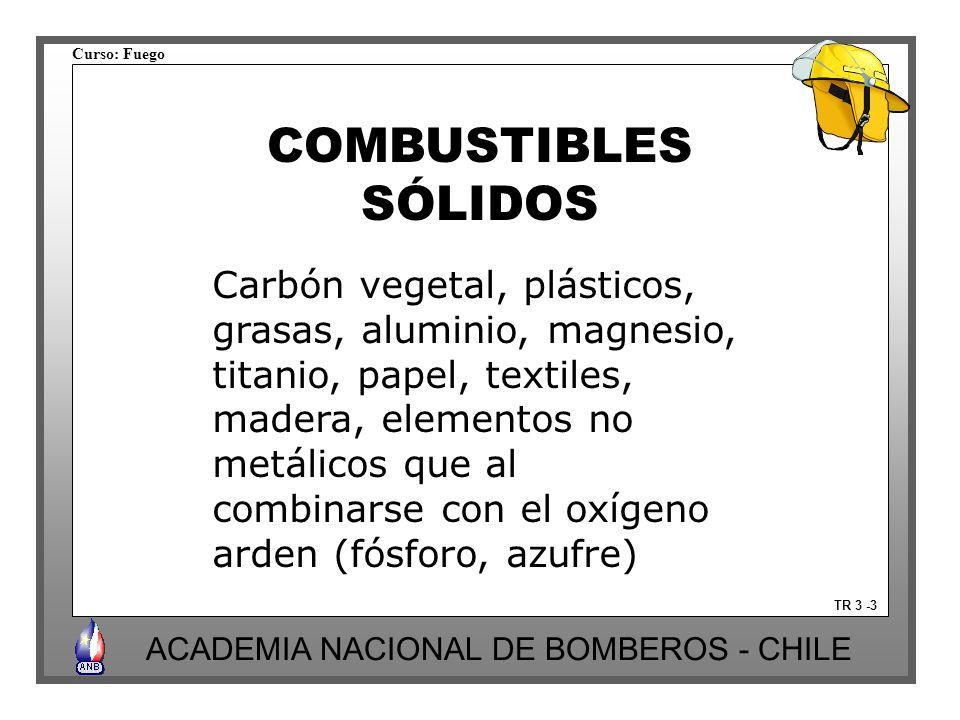 Curso: Fuego ACADEMIA NACIONAL DE BOMBEROS - CHILE COMBUSTIBLES SÓLIDOS Carbón vegetal, plásticos, grasas, aluminio, magnesio, titanio, papel, textiles, madera, elementos no metálicos que al combinarse con el oxígeno arden (fósforo, azufre) TR 3 -3