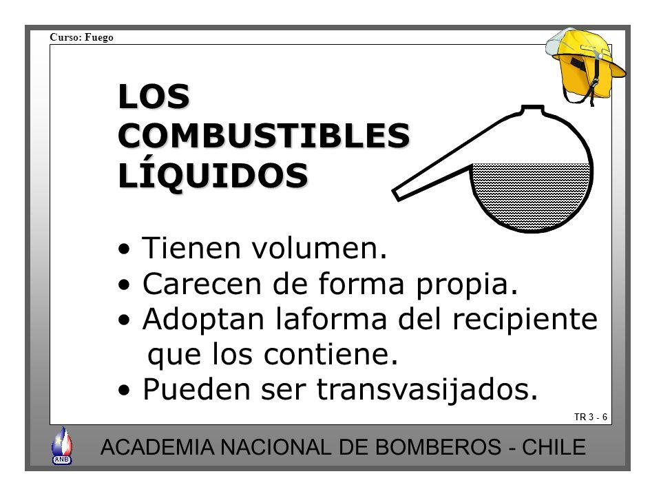 Curso: Fuego ACADEMIA NACIONAL DE BOMBEROS - CHILE TR 3 - 6 LOSCOMBUSTIBLESLÍQUIDOS Tienen volumen. Carecen de forma propia. Adoptan laforma del recip