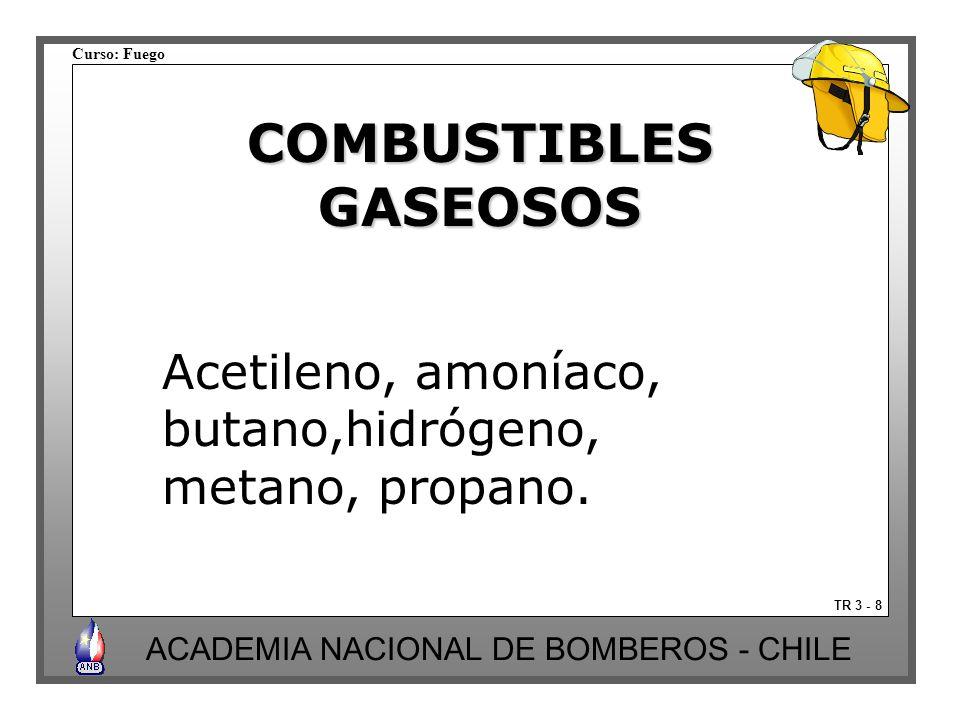 Curso: Fuego ACADEMIA NACIONAL DE BOMBEROS - CHILE TR 3 - 8 COMBUSTIBLESGASEOSOS Acetileno, amoníaco, butano,hidrógeno, metano, propano.