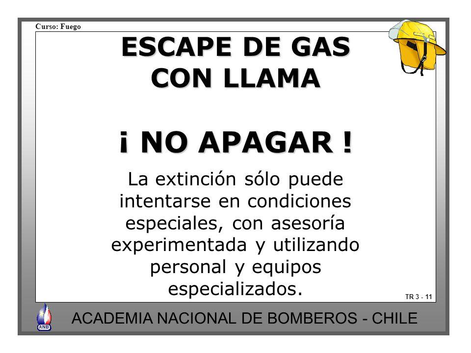 Curso: Fuego ACADEMIA NACIONAL DE BOMBEROS - CHILE TR 3 - 11 ESCAPE DE GAS CON LLAMA ¡ NO APAGAR ! La extinción sólo puede intentarse en condiciones e
