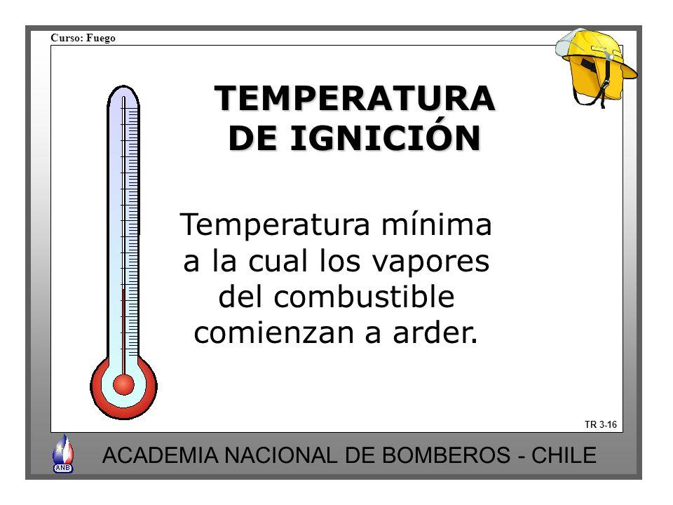 Curso: Fuego ACADEMIA NACIONAL DE BOMBEROS - CHILE TR 3-16 TEMPERATURA DE IGNICIÓN Temperatura mínima a la cual los vapores del combustible comienzan