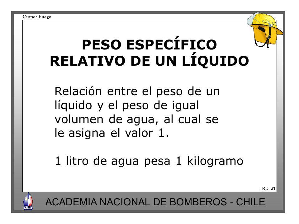 Curso: Fuego ACADEMIA NACIONAL DE BOMBEROS - CHILE PESO ESPECÍFICO RELATIVO DE UN LÍQUIDO TR 3 -21 Relación entre el peso de un líquido y el peso de igual volumen de agua, al cual se le asigna el valor 1.