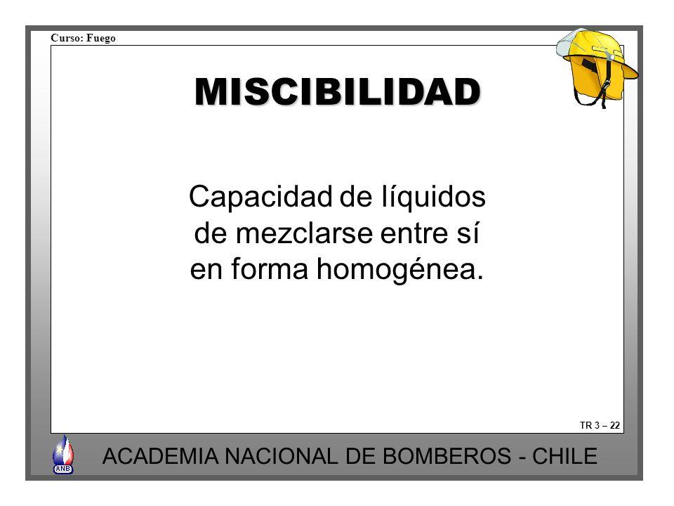 Curso: Fuego ACADEMIA NACIONAL DE BOMBEROS - CHILE TR 3 – 22 MISCIBILIDAD Capacidad de líquidos de mezclarse entre sí en forma homogénea.