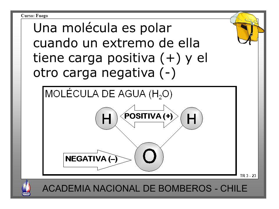 Curso: Fuego ACADEMIA NACIONAL DE BOMBEROS - CHILE TR 3 - 23 Una molécula es polar cuando un extremo de ella tiene carga positiva (+) y el otro carga