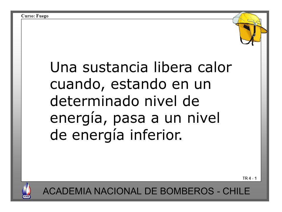 Curso: Fuego ACADEMIA NACIONAL DE BOMBEROS - CHILE TR 4 - 1 Una sustancia libera calor cuando, estando en un determinado nivel de energía, pasa a un n
