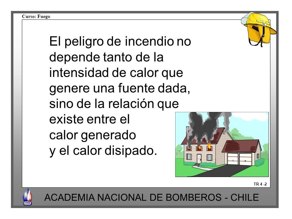 Curso: Fuego ACADEMIA NACIONAL DE BOMBEROS - CHILE TR 4 -2 El peligro de incendio no depende tanto de la intensidad de calor que genere una fuente dada, sino de la relación que existe entre el calor generado y el calor disipado.