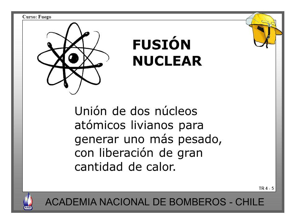 Curso: Fuego ACADEMIA NACIONAL DE BOMBEROS - CHILE TR 4 - 5 Unión de dos núcleos atómicos livianos para generar uno más pesado, con liberación de gran cantidad de calor.