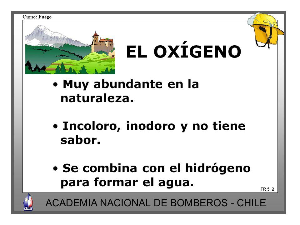 Curso: Fuego ACADEMIA NACIONAL DE BOMBEROS - CHILE Muy abundante en la naturaleza. Incoloro, inodoro y no tiene sabor. Se combina con el hidrógeno par